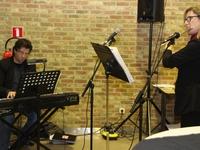 Muzikale intro op de receptie N-VA Opwijk-Mazenzele