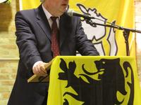 Hendrik Vuye spreekt begeesterend op receptie N-VA Opwijk-Mazenzele