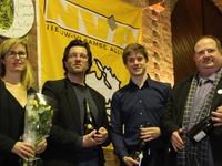 De 4 muzikanten worden gehuldigd op receptie N-VA Opwijk-Mazenzele